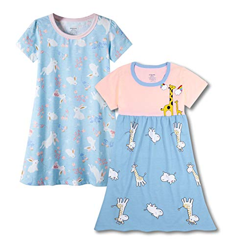 Image of 2 Pack Cute Animals Short Sleeve Cotton Nightgown for Girls - See More Packs