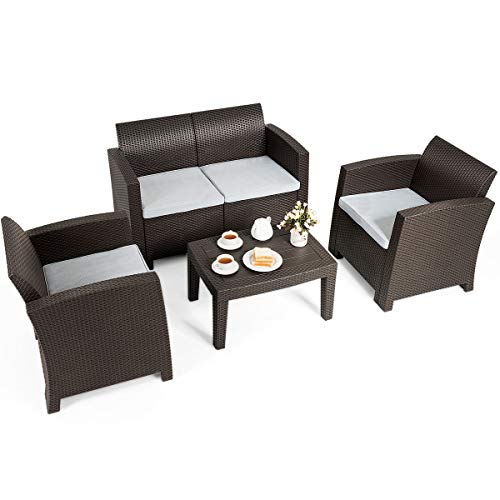 Tangkula 4 Piece Patio Furniture Set, Rattan Table Chair Set, Modern Wicker Rattan PE Conversation Sectional Sofa Set w/Removable Cushion, Outdoor Indoor Use Sectional Yard Furniture Set, Coffee