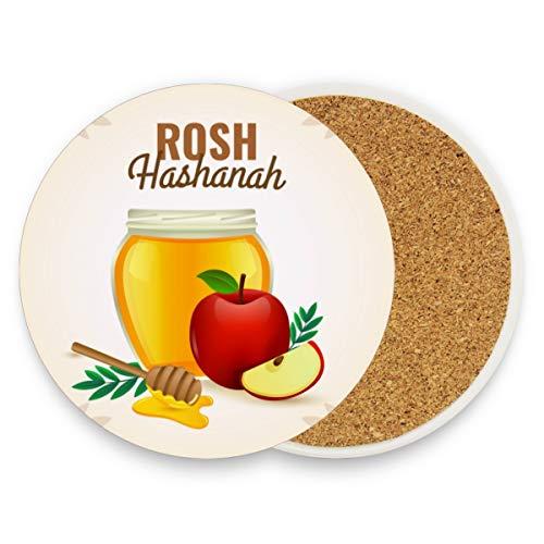 Rosh Hashanah Äpfel und Honig rund saugfähig Keramik Stein Getränkeuntersetzer Kaffeetasse Set für Home Office Bar Küche (Set von 1), keramik, multi, 4er-Set