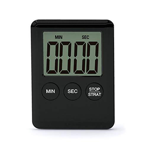 Vkermury - Temporizador de cocina ultrafino con pantalla LCD, temporizador de cocina digital con alarma e imán para cocinar y hacer deportes, juegos de siesta, oficina, color negro