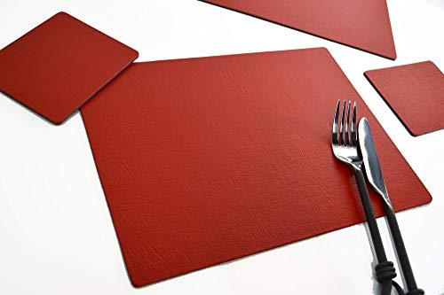 Giftag Lot de 6 Artisan Rouge Sets de tables et 6 sous-verres, fabriquée au Royaume-Uni