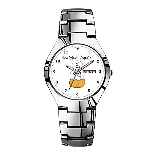 Relojes para hombre de acero plateado banda superior marca impermeable Japón reloj de cuarzo Navidad hombres negocios reloj demasiado Tequila reloj