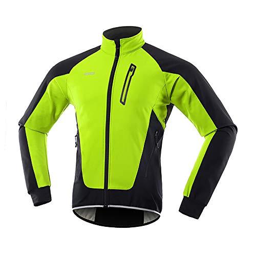 LINGYUN Chaqueta De Ciclismo para Hombre Chaqueta Transpirable Impermeable A Prueba De Viento, Chaqueta Polar Reflectante De Alta Visibilidad para Bicicleta para Montar En Bicicleta,Verde,L