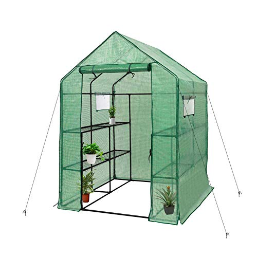 """Deluxe Green House 56"""" W x 56"""" D x 77"""" H,Walk in Outdoor Plant Gardening Greenhouse 2 Tiers 8 Shelves - Window and Anchors Include!(Green)"""