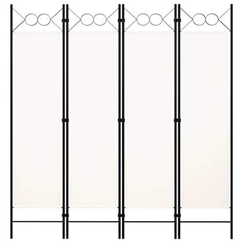 vidaXL Raumteiler Klappbar Freistehend Trennwand Paravent Umkleide Sichtschutz Spanische Wand Raumtrenner 4-TLG. Weiß 160x180cm Eisen Stoff