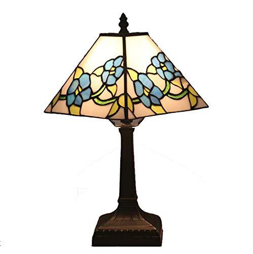 NANXCYR Lámpara De Mesa De Estilo Tiffany, 11 Pulgadas Cuadradas Europeas Art Deco Deco Manchado De Flores Azul Lámparas Lámparas De Noche Lámpara De Lectura para Sala De Estar Dormitorio