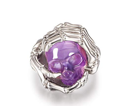 Ring of Amethyst Carved Gemstone Crystal Skull in Sterling Silver Skeletal Hands, Skull Ring. (9.5)