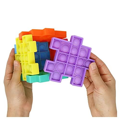 DWCA 6 Pcs Magic Cube Push Fidget Sensory Toys Small Accessories  Square Fidget Toys Push It  Fidget Toys for Anxiety Relief Cube Figet Toys