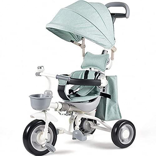 TANKKWEQ Cochecito Plegable Stroller Bicicleta Ajustable Manija de Empuje y toldos retráctiles adecuados para niños de 1 a 5 carritos de Tres Ruedas,