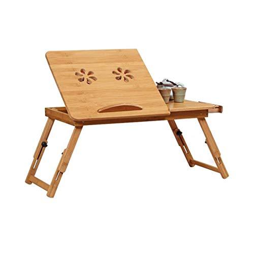Mesa plegable para computadora Mesa plegable de bambú para computadora portátil Mesa de cama Bandeja de altura y ángulo ajustable Cajón de escritorio para computadora portátil y ventilación (Tamaño