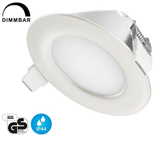 TEVEA® Ultra Flach LED Einbaustrahler IP44 dimmbar für den Wohnbereich |auch für das Bad geeignet| Warmweiß 6W 230V Rahmen weiss Rund Einbauspots Badleuchten (Warmweiss)