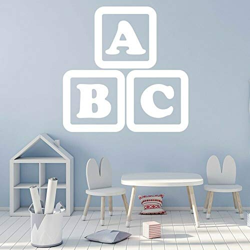 ASFGA Kindergarten Kinder mit ABC Buchstaben Wandtattoos Kinderzimmer Dekoration Vinyl Klassenzimmer Tapeten Ornamente Kinder Wandtattoos 110x110cm