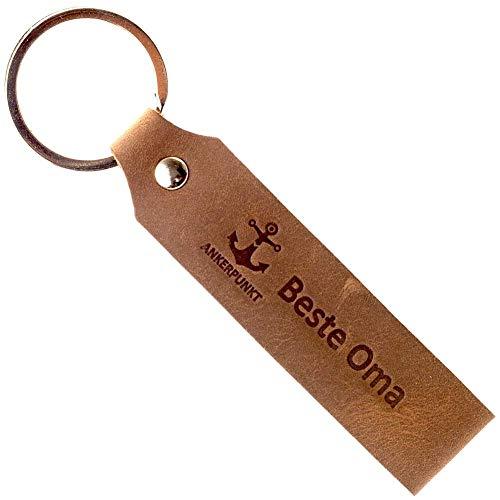 Ankerpunkt Schlüsselanhänger Leder mit Gravur Beste Oma - Muttertagsgeschenk Oma Geschenk für Oma - Geschenkidee zum Geburtstag - Made in Germany (Dunkelbraun) Used Look