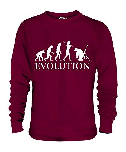 Candymix Mörser Geschütz Soldat Mörtel Evolution des Menschen Unisex Herren Damen Sweatshirt, Größe Medium, Farbe Burgunderrot