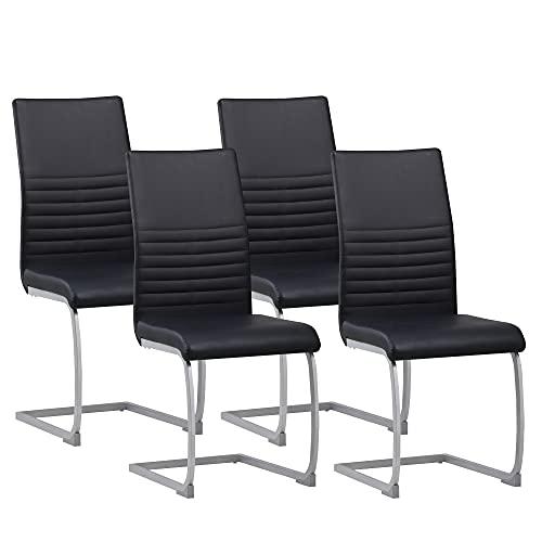 ALBATROS Freischwinger Murano 4-er Set Schwarz, SGS geprüft, Elegante Esszimmerstühle/Schwingstühle, bequem gepolstert