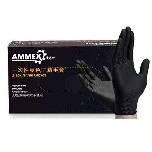 Ammex GlovePlus - Guantes de nitrilo negro , sin látex, desechables, sin polvo (caja de 100)
