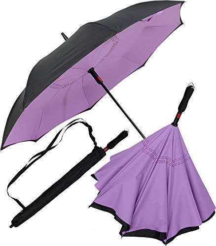 iX-brella Reverse-Regenschirm Automatik- umgedreht zu öffnen - schwarz-helllila