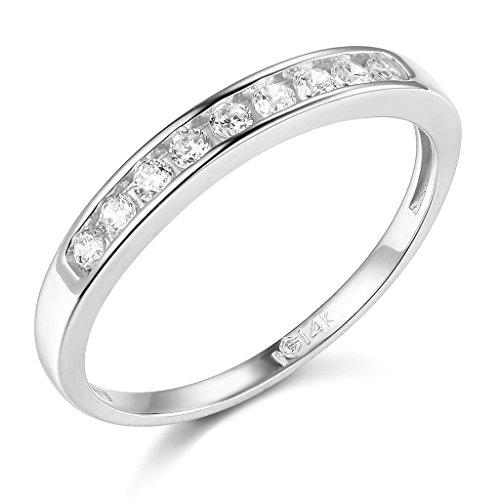 TWJC 14k White Gold Solid Wedding Band - Size 5.5