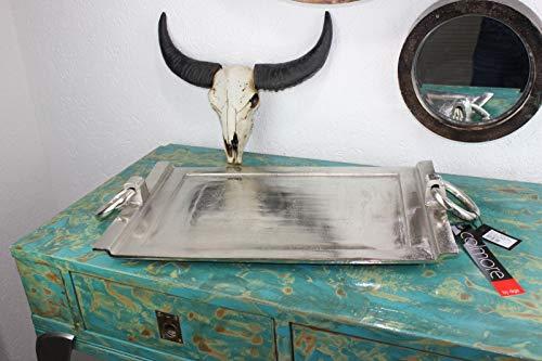 Colmore ALU massiv Schale Tablett Silber gross XL 57cm Dekoschale Griffe lang