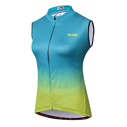 Uriah Damen Fahrradweste Reflektierende mit Reißverschluss hinten, Damen, Grün / Gelb, XX-Large