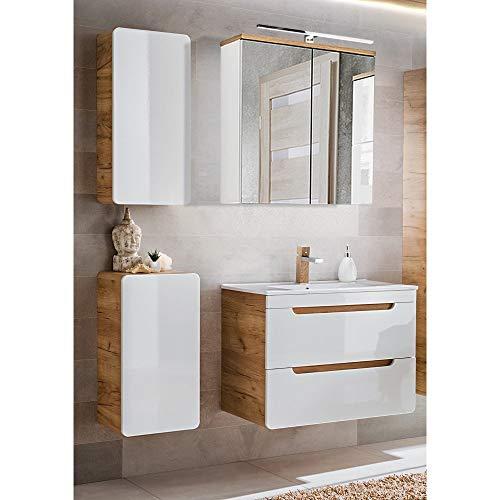 Lomadox Badmöbel Set, weiß Hochglanz mit Wotaneiche, 80cm Waschtischunterschrank mit Keramik-Waschbecken, LED-Spiegelschrank