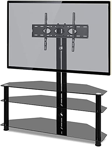 BNFD Upgraded Corner TV Stand for Most 32-65 Inch TV with Tempered Glass Mount Bracket Tower Height Adjustable