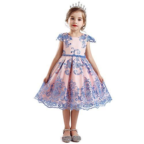 NNJXD Vestido de Fiesta de Halloween de Princesa de Flores de Tul para Niñas Tamaño(140) 7-8 años 704 Azul-C