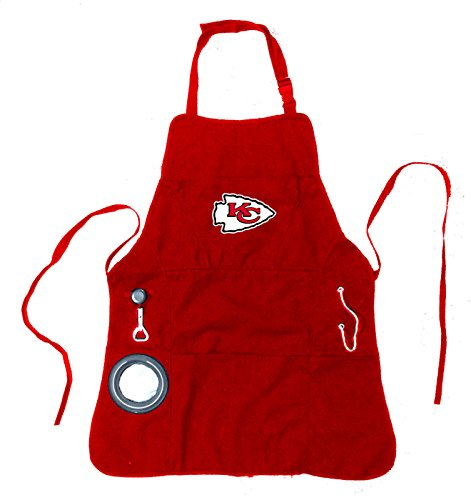 Team Sports America NFL Kansas City Chiefs Ultimate Grilling Apron Durable Cotton with Beverage Opener and Multi Tool for Football Fans Fathers Day and More