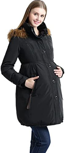 Momo Maternity Outerwear Lily Hooded Cinch Waist Down Parka Coat Pregnancy Winter Jacket Black product image