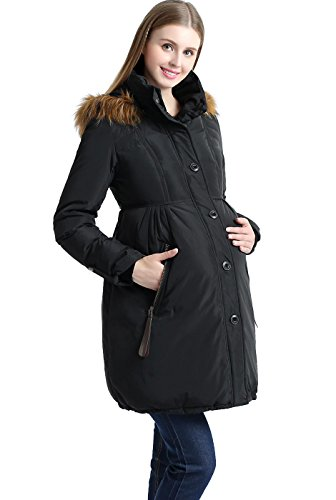 Momo Maternity Outerwear Lily Hooded Cinch Waist Down Parka Coat Pregnancy Winter Jacket Black X-Small