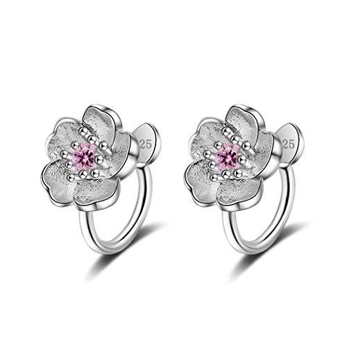 wangk Stil Kristall Kirschblüte Blume Clip auf Ohrringe ohne Piercing für Mädchen Party süße kein Loch Ohr Clip