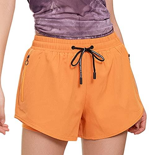 BEAUTYOO Pantalones cortos transpirables de doble capa para mujer, pantalones cortos de pijama, pantalones cortos deportivos para yoga, deportes, gimnasio, naranja, S