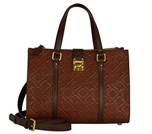 SILVIO TOSSI Damen Lederhandtasche Schultertasche Dunkelwhisky & Braun Modell 12970-02
