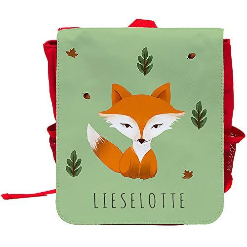 Kinder-Rucksack mit Namen Lieselotte und schönem Motiv mit Aquarell-Fuchs | Rucksack | Backpack
