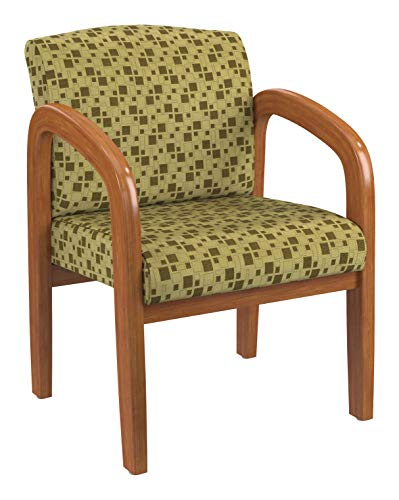 Office Star WD Collection Medium Oak Finish Wood Visitor's Chair with Thick Padded Seat and Lumbar Support, City Park Kiwi Fabric