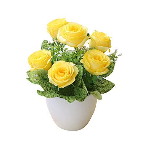 WFZ17 Künstliche Bonsai-Rosen, Kunstblumen, Kunstpflanze, Heim, Garten, Dekoration, Gelb