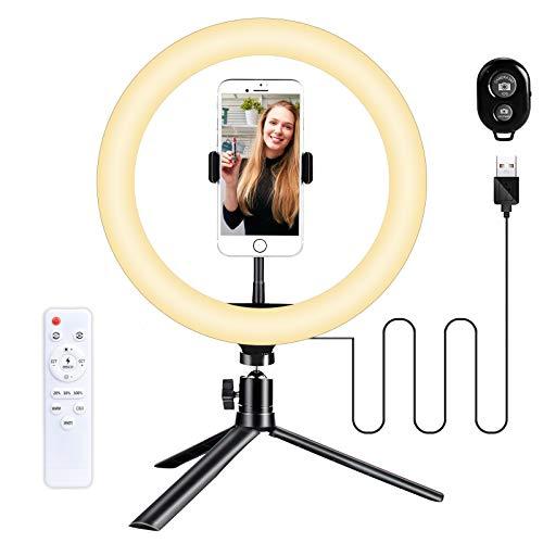 Wolady Ringlicht mit Stativ, 10 Zoll LED Selfie Ringleuchte Ringlicht mit Fernbedienung und Handyhalter 3 Leuchtmodi 10 Helligkeitsstufen für Live-Streaming YouTube Tiktok Vlog, Fotografie usw.