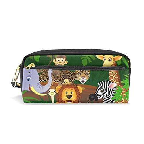 Zipper Pencil Pouch,Elefante Cebra Jirafa Animal Maquillaje Cepillo Bolsa, Llamativas Bolsas De Lápices Para Compras En Casa Al Aire Libre,20x5.5x8.5cm