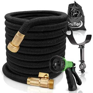 TruTec Expandable Garden Hose, Heavy Duty Nylon Cover, Triple Layer Latex Core, Flexible Expanding Hose, ¾ Brass Shut Off Valve, 8-Way Nozzle, Pat. Stainless Steel Holder (50, Black)