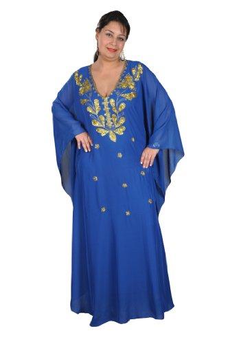 Egypt Bazar Abaya Festkleid aus Chiffon, Einheitsgröße: M bis XXXL (Blau/Gold)