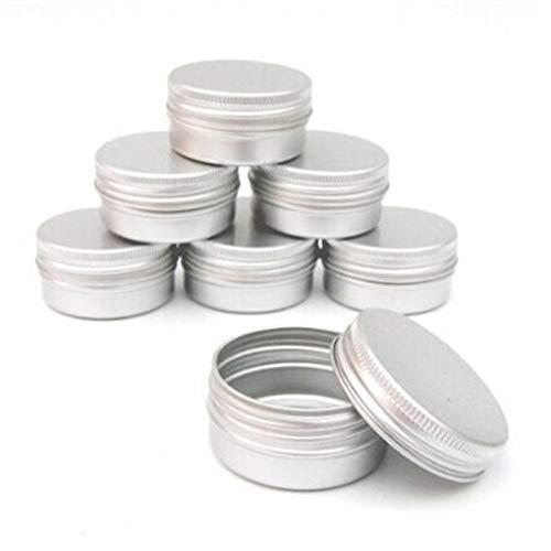 Lankater 10pcs De L'aluminium Tins Baume Container Nail Art Crème Make Up Pots Petit Ronde Tines avec Couvercles pour DIY Bougie Artisanat Bijoux Tri Stockage