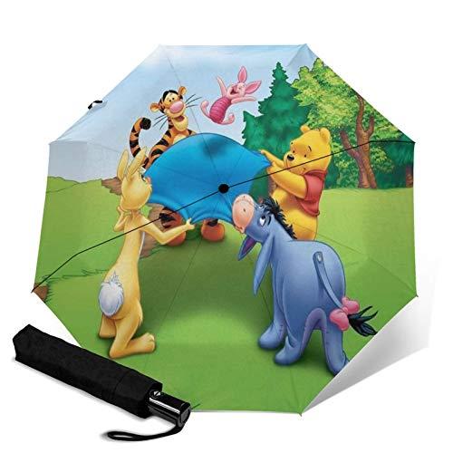Paraguas Anti-Ultravioleta Compacto De Viaje Triple De Apertura/Cierre Automático, Sombrilla Plegable A Prueba De Viento para Exteriores, Disney Winnie Pooh Eeyore Trampolín