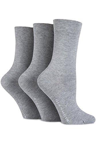 Glenmuir Ladies 3 Paar Comfort Cuff Plain Bamboo Socken 4-8 Damen Grau