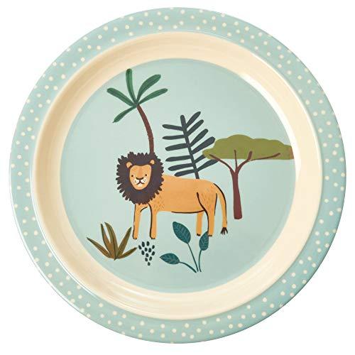 Rice Teller Kinderteller aus Melamin Motiv Dschungel Löwe grün