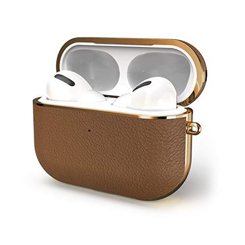 GAZE AirPods Pro 充電ケースカバー 【2020最新版】 フルグレインレザーエアーポッズプロスタイリッシュ保護カバー 分離式 キズ防止 耐衝撃 軽量 AirPods Pro Leather Case【前のLEDが見える】 (褐色)
