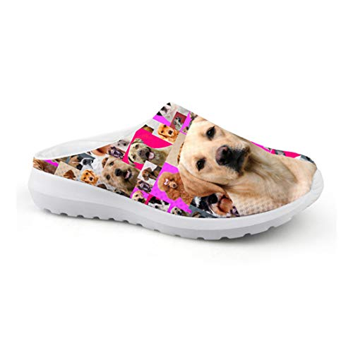 HMML Women Casual Slip On Slippers Garden Clog French Bulldog Sandals Fashion Black White Face Dog Print Breathable Air Mesh Closed Toe Shoes Flat Platform Lazy Shoes CA45 8 B(M) US