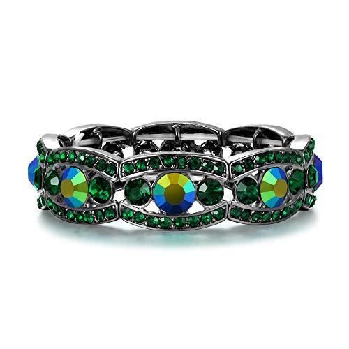 Clearine Hochzeit Braut Armband für Damen Strass Kristall Mystische Augen Stretch Armreif Schwarz-Ton Smaragdgrüner Edelstein