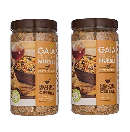 GAIA Muesli Nutty Delight 1 KG Jar (Pack of 2)