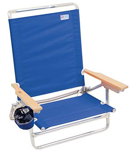 Rio Beach Classic 5 Position Lay Flat Folding Beach Chair - Pacific Blue