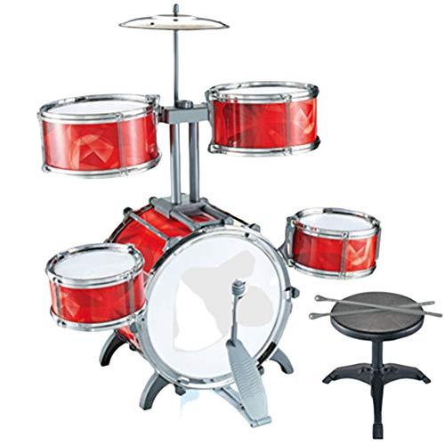 UPANV Juguetes para niños Rompecabezas de educación temprana Tambor para Principiantes Mini Juego de batería Kit de educación temprana para niños Instrumento Musical para niños,Rojo